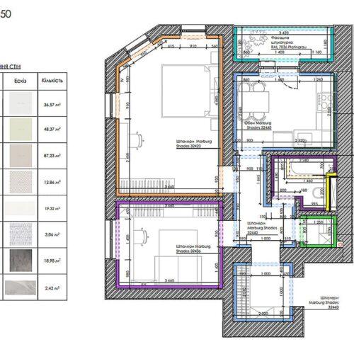 Дизайн-проект интерьера квартиры «ЖК Левада 2», план отделки стен