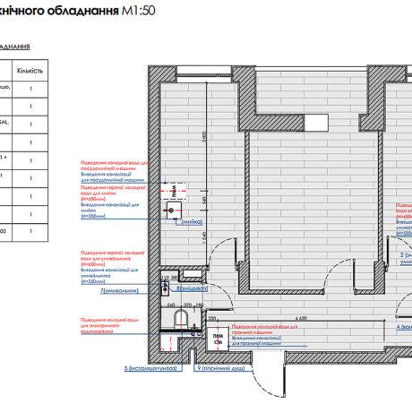 """Дизайн інтер'єру квартири ЖК """"Пролісок"""", план сантехнічного обладнання"""