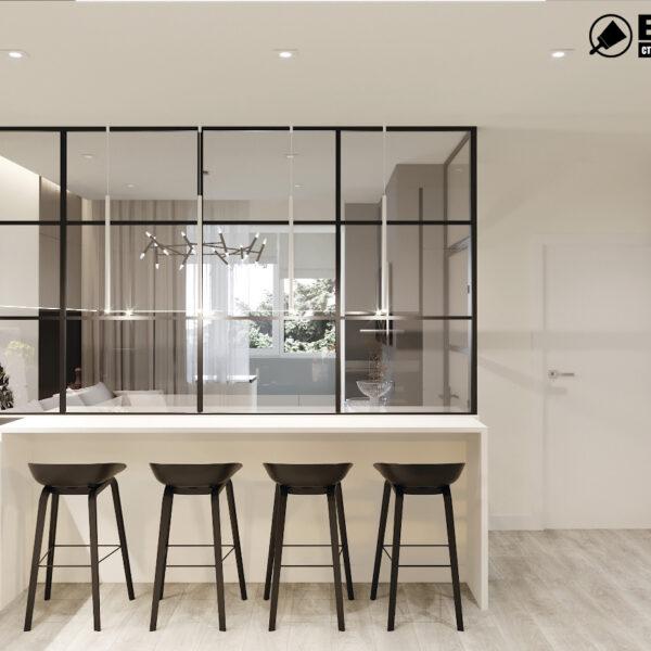 "Дизайн-проект двокімнатної квартири ЖК ""Дует"", кухня вид ззаду"