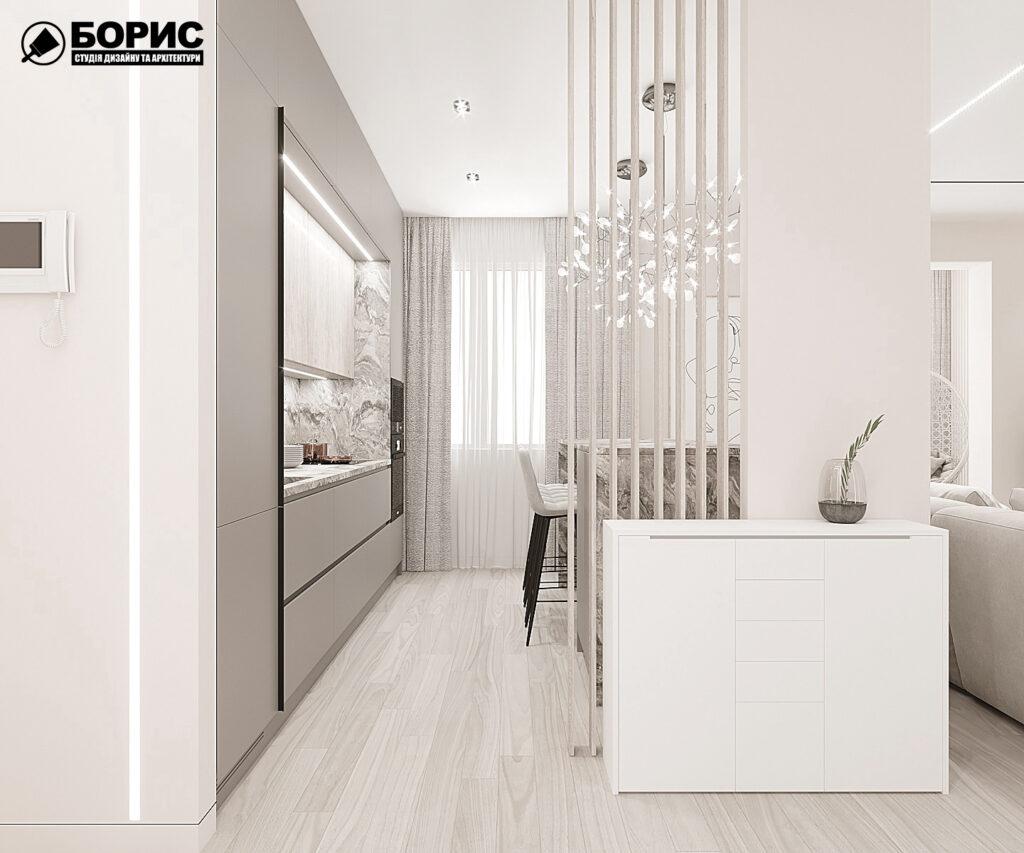 """Дизайн-проект однокомнатной квартиры ЖК """"Радужный"""", кухня вид справа"""
