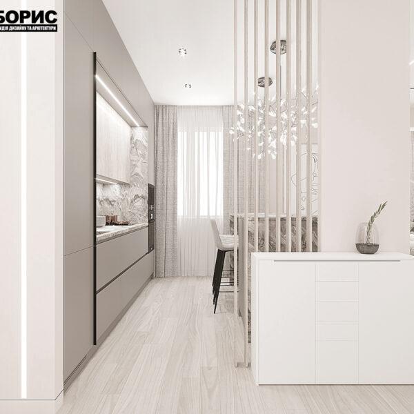 """Дизайн-проект однокімнатної квартири ЖК """"Райдужний"""", кухня вид справа"""