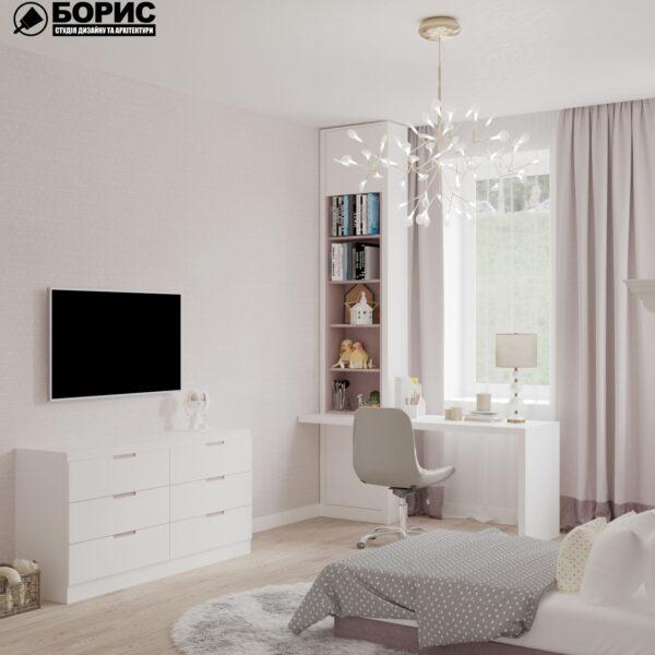 "Дизайн-проект трикімнатної квартири ЖК ""Сокольники"", дитяча кімната вид ззаду"