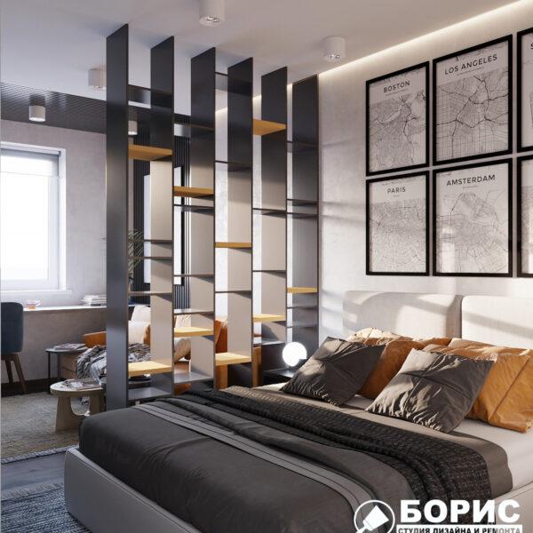 """Дизайн-проект однокомнатной квартиры ЖК """"Архитекторов"""", спальня вид слева"""