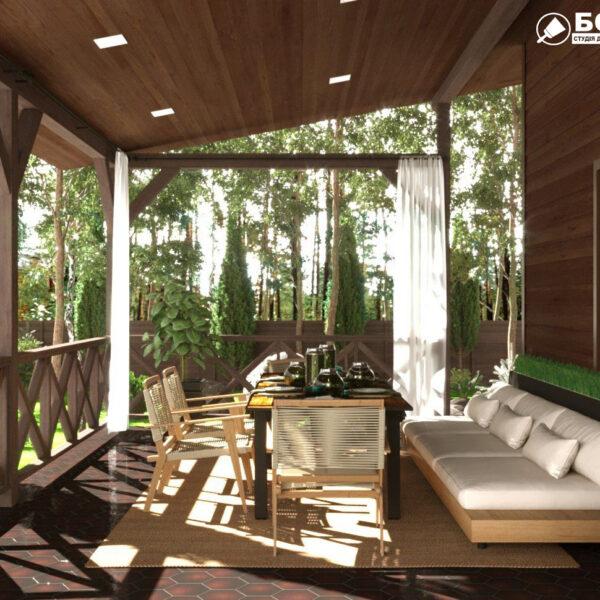 Дизайн-проект частного дома, терраса вид слева