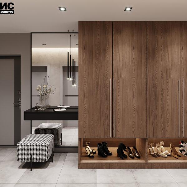 Дизайн интерьера двухкомнатной квартиры в ЖК «Архитекторов», прихожая вид спереди.