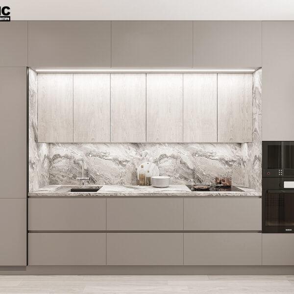 """Дизайн-проект однокімнатної квартири ЖК """"Райдужний"""", кухня вид спереду"""