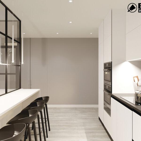 """Дизайн-проект двокімнатної квартири ЖК """"Дует"""", кухня вид зліва"""