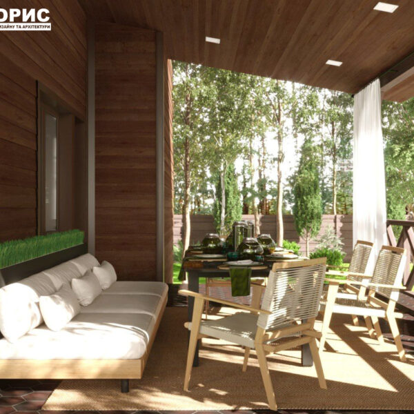 Дизайн-проект частного дома, терраса вид справа