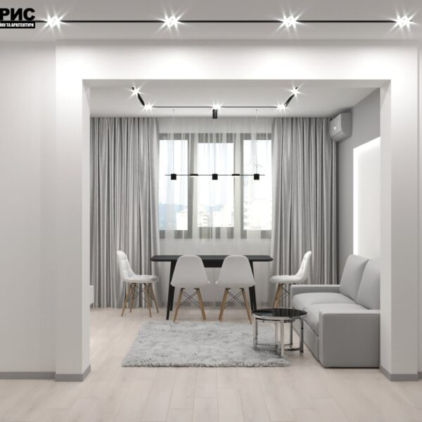 Дизайн-проект трехкомнатной квартиры по адресу: ул. Клочковская, 201-а, кухня вид с прихожей