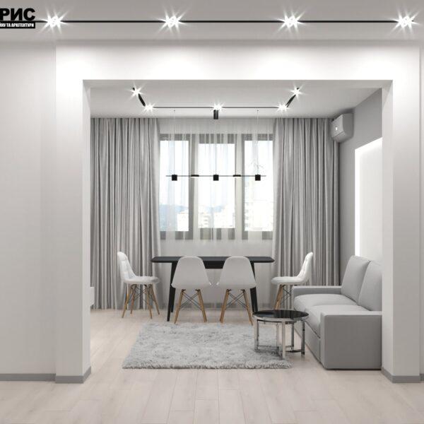 Дизайн-проект трикімнатної квартири за адресою: вул. Клочківська, 201-а, кухня вид з передпокою