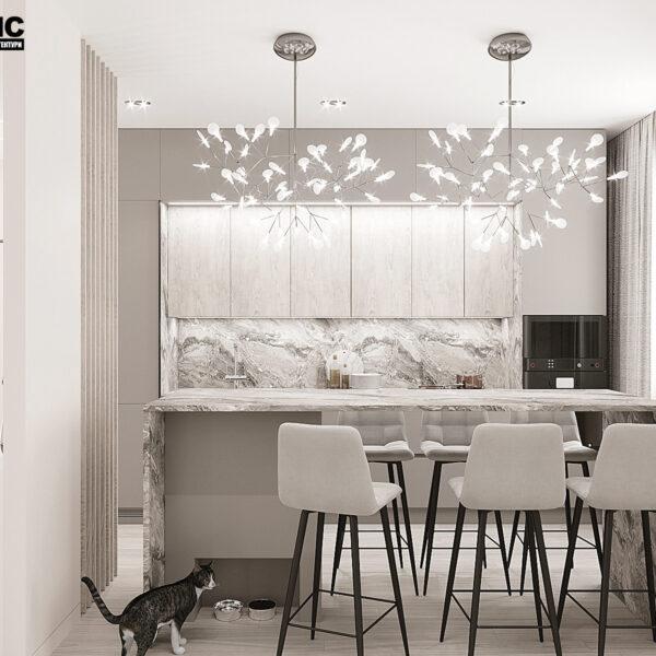 """Дизайн-проект однокімнатної квартири ЖК """"Райдужний"""", кухня"""
