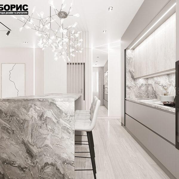 """Дизайн-проект однокімнатної квартири ЖК """"Райдужний"""", кухня вид зліва"""