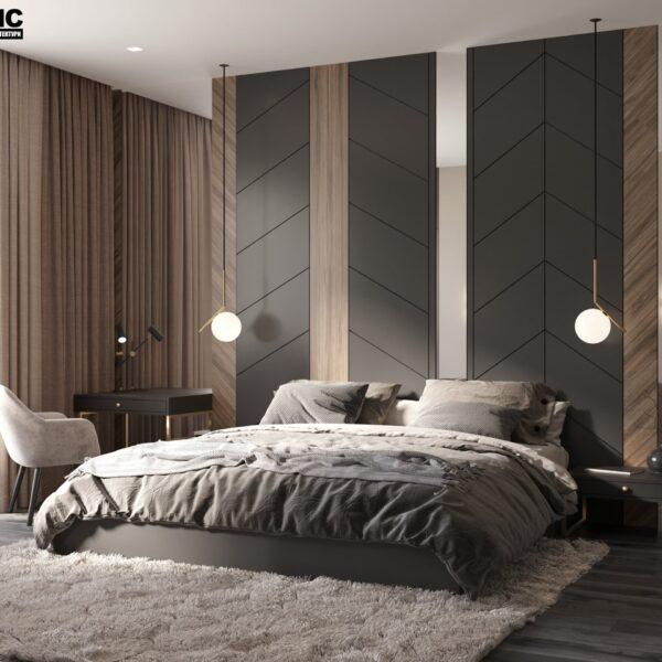 """Дизайн-проект двухэтажной квартиры ЖК """"Клеменова Дача"""", спальня №1 вид спереди"""