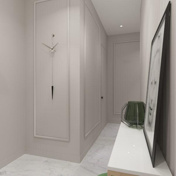 """Дизайн-проект трикімнатної квартири ЖК """"Сокольники"""", коридор вид спереду"""