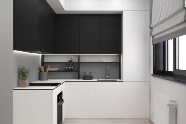 Дизайн-проект трехкомнатной квартиры по адресу: ул. Клочковская, 201-а, кухня вид спереди