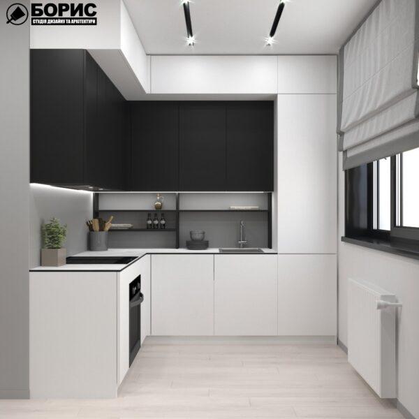 Дизайн-проект трикімнатної квартири за адресою: вул. Клочківська, 201-а, кухня вид спереду