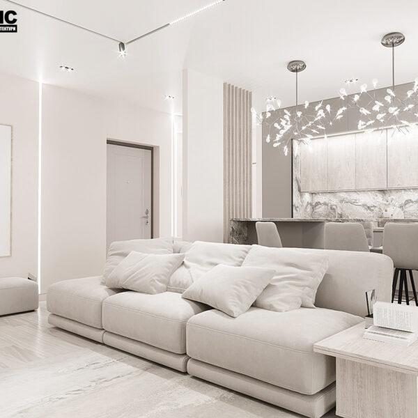 """Дизайн-проект однокімнатної квартири ЖК """"Райдужний"""", вітальня вид зліва"""