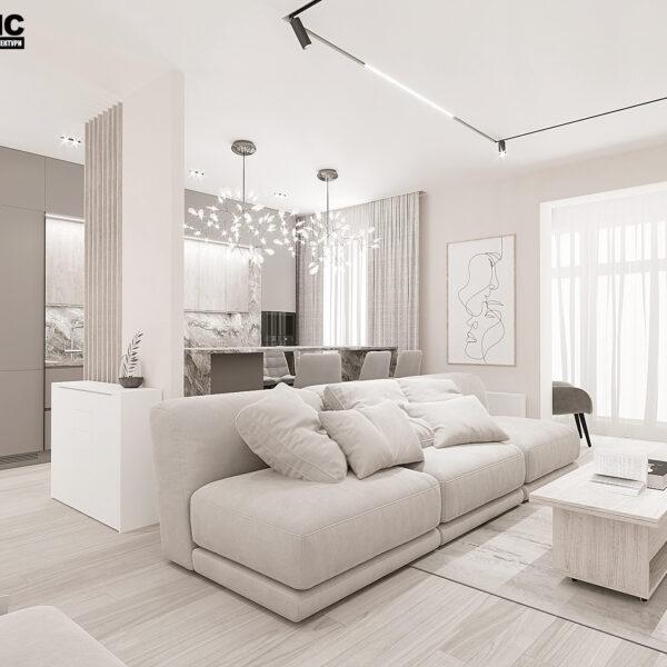 """Дизайн-проект однокімнатної квартири ЖК """"Райдужний"""", вітальня вид справа"""