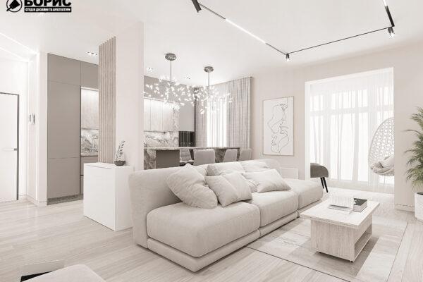 """Дизайн-проект однокомнатной квартиры ЖК """"Радужный"""", гостиная вид справа"""