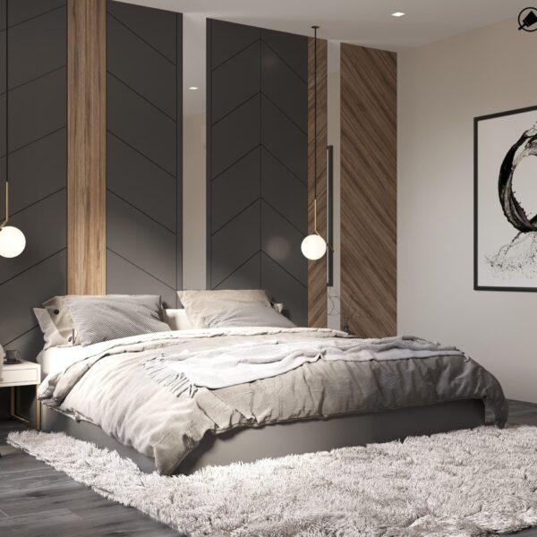 """Дизайн-проект двухэтажной квартиры ЖК """"Клеменова Дача"""", спальня №1 вид сбоку"""