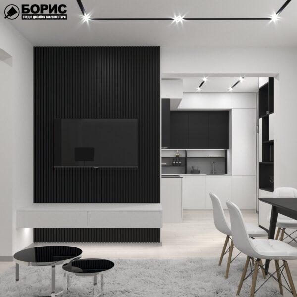 Дизайн-проект трехкомнатной квартиры по адресу: ул. Клочковская, 201-а, кухня вид сбоку