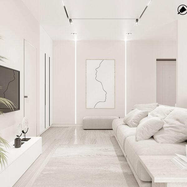 """Дизайн-проект однокімнатної квартири ЖК """"Райдужний"""", вітальня"""