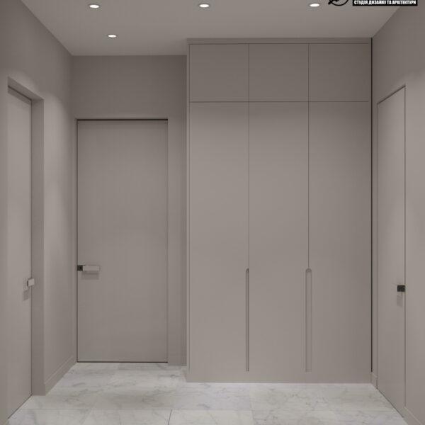 """Дизайн-проект трикімнатної квартири ЖК """"Сокольники"""", коридор вид ззаду"""