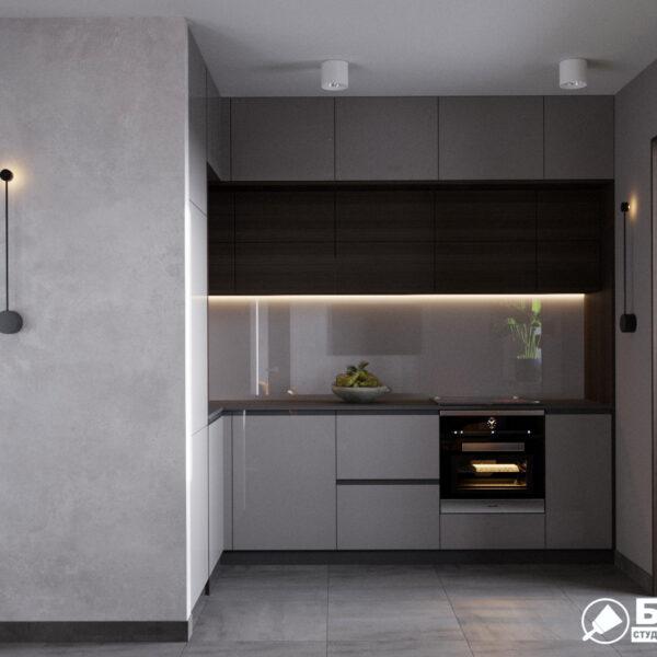 """Дизайн-проект однокомнатной квартиры ЖК """"Архитекторов"""". кухня вид спереди"""