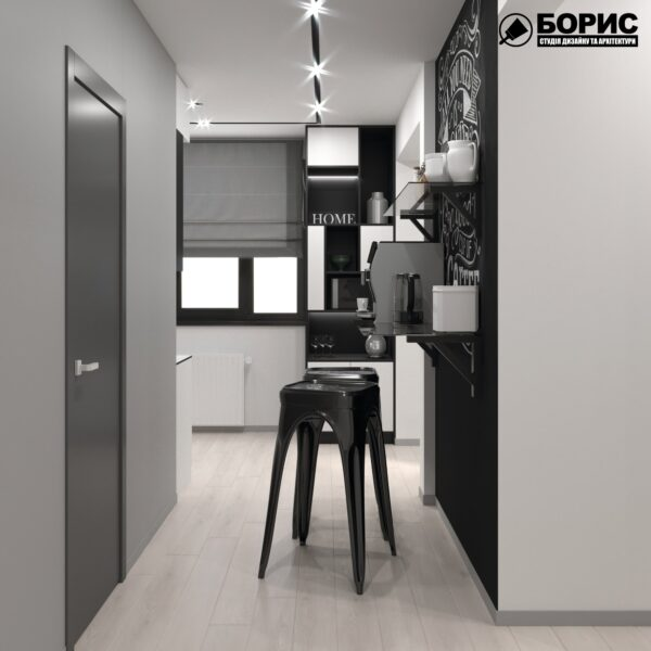 Дизайн-проект трехкомнатной квартиры по адресу: ул. Клочковская, 201-а, кухня вид с коридора