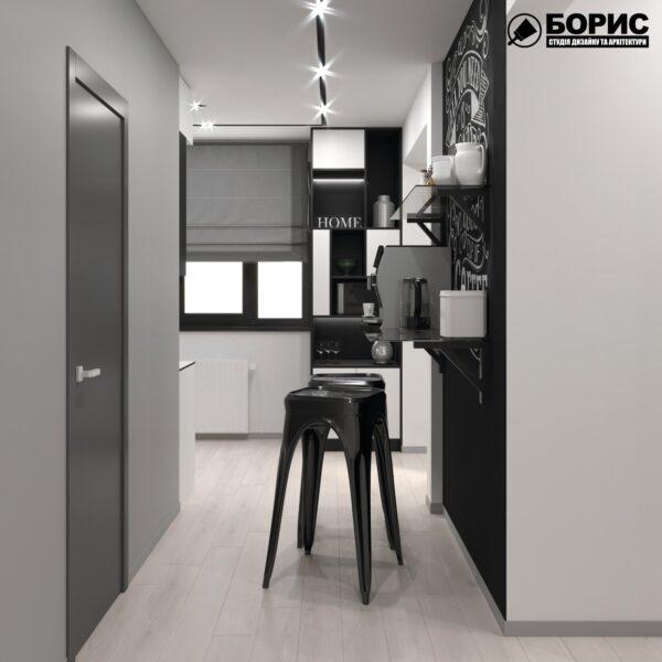 Дизайн-проект трикімнатної квартири за адресою: вул. Клочківська, 201-а, кухня вид з коридору