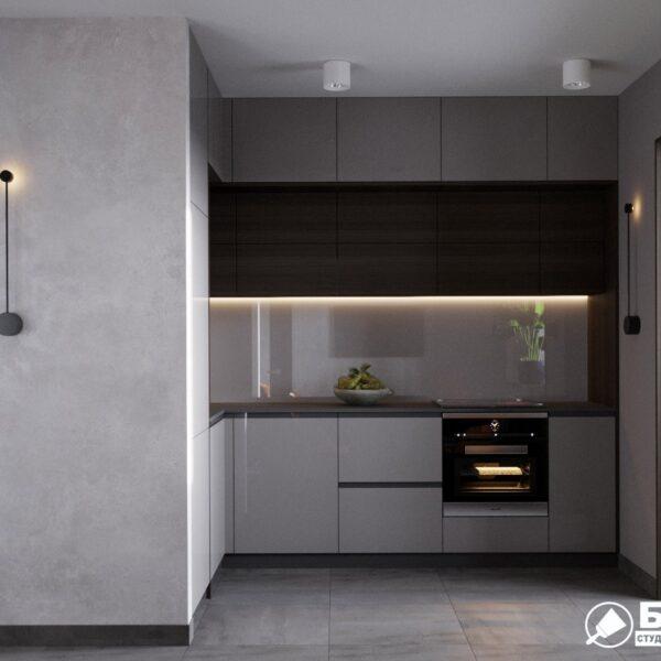 """Дизайн-проект однокімнатної квартири ЖК """"Архітекторів"""", кухня вид спереду"""