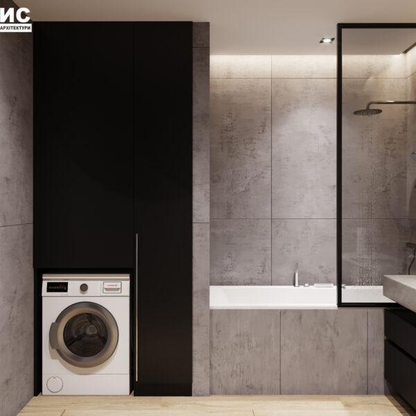 Дизайн интерьера двухкомнатной квартиры в ЖК «Архитекторов», санузел с закрытыми дверцами