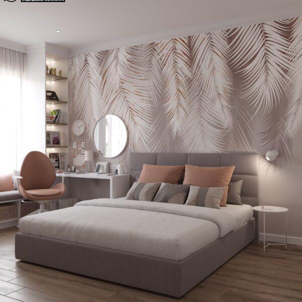 """Дизайн-проект двухэтажной квартиры ЖК """"Клеменова Дача"""", спальня №2 вид спереди"""
