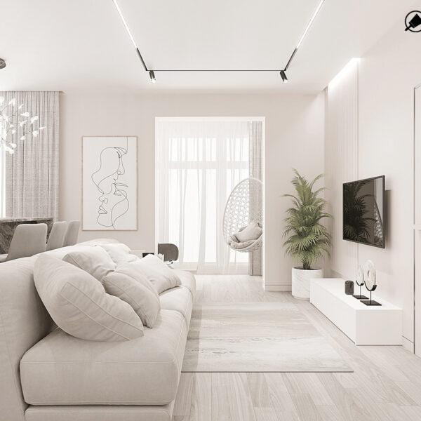 """Дизайн-проект однокімнатної квартири ЖК """"Райдужний"""", вітальня вид збоку"""