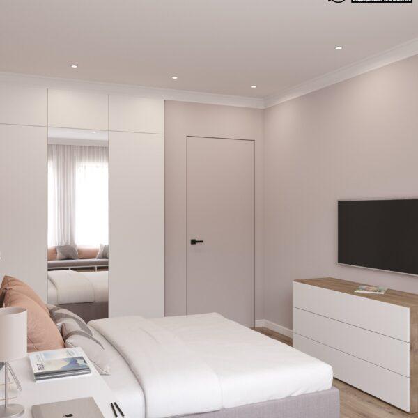 """Дизайн-проект двухэтажной квартиры ЖК """"Клеменова Дача"""", спальня №2 вид справа"""