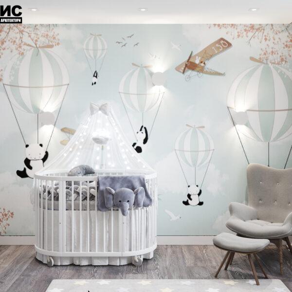 Дизайн интерьера двухкомнатной квартиры в ЖК «Архитекторов», детская вид на кроватку