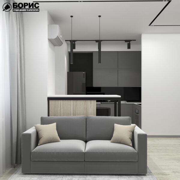 """Дизайн-проект однокімнатної квартири ЖК """"Пташка"""", вітальня"""
