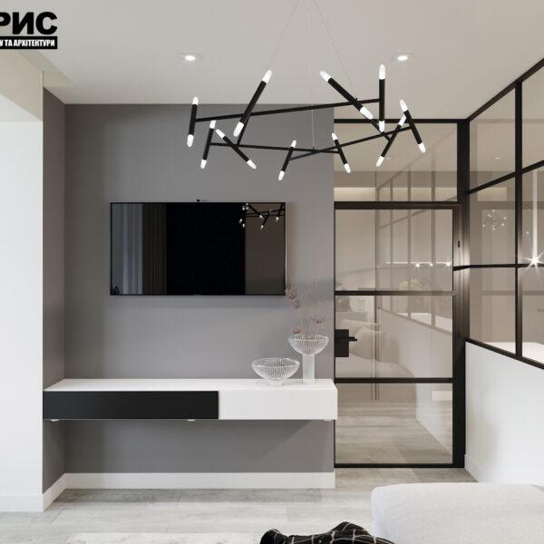 """Дизайн-проект двокімнатної квартири ЖК """"Дует"""", вітальня вид ззаду"""
