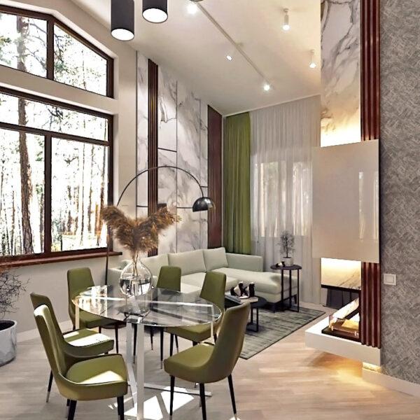 Дизайн-проект приватного будинку, вітальня денне світло