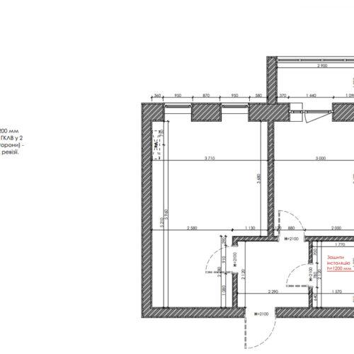 """Дизайн-проекту інтер'єру однокімнатної квартири ЖК """"Левада 2"""", план монтажу"""