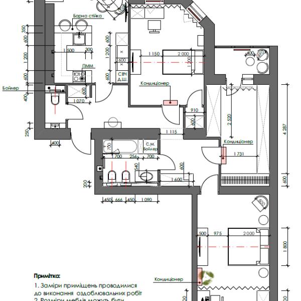 """Дизайн-проект трикімнатної квартири ЖК """"Сокольники"""", креслення планування"""