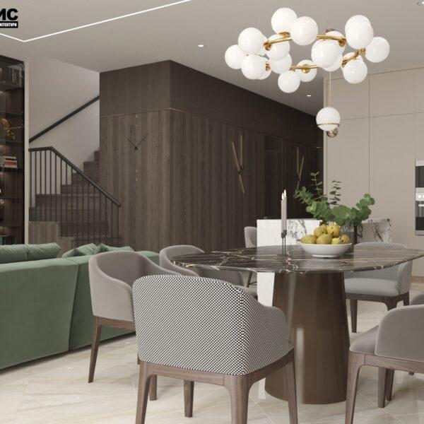 """Дизайн-проект двухэтажной квартиры ЖК """"Клеменова Дача"""", гостиная вид сбоку"""