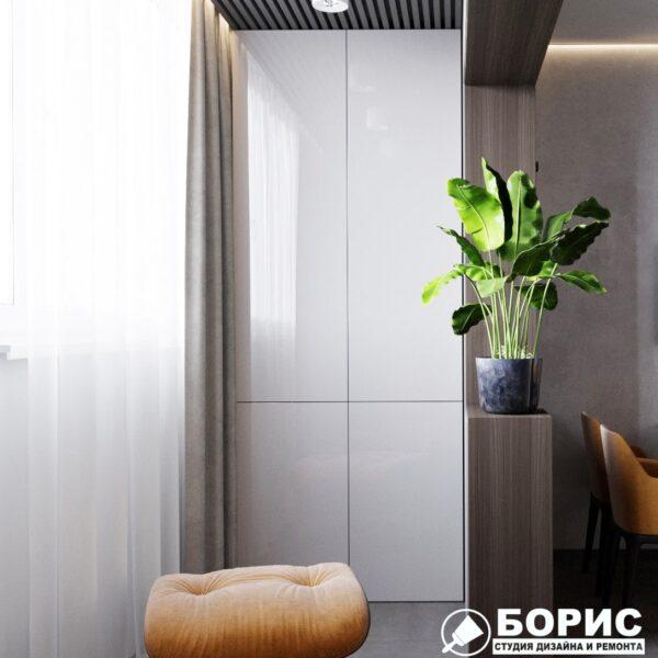 """Дизайн-проект однокімнатної квартири ЖК """"Архітекторів"""". лоджія вид справа"""
