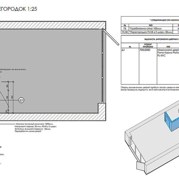 Дизайн-проект фастфуду, план монтажу перегородок