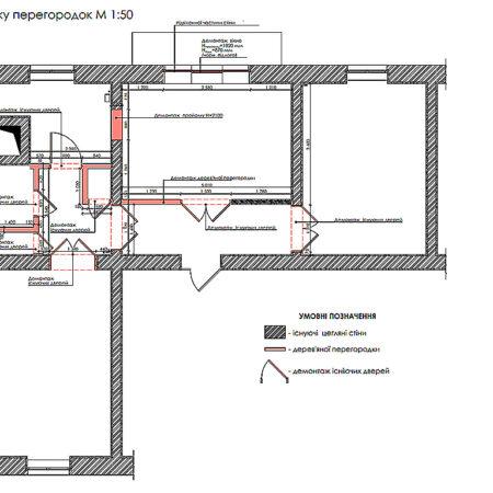 Дизайн-проект квартиры по ул. Семинарской, план демонтажа перегородок