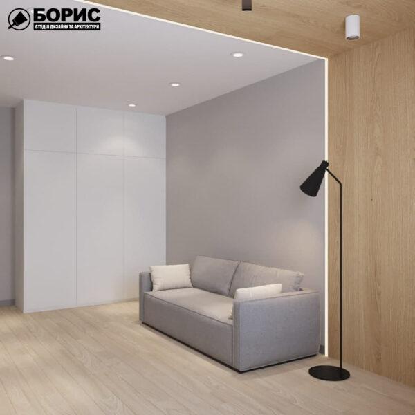 Дизайн-проект трехкомнатной квартиры по адресу: ул. Клочковская, 201-а, гостиная вид слева