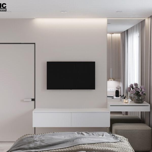 """Дизайн-проект однокімнатної квартири ЖК """"Райдужний"""", спальня вид ззаду"""