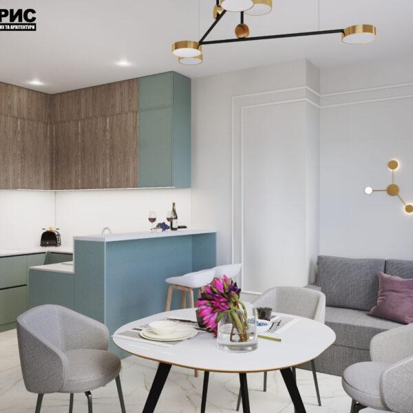 """Дизайн-проект трикімнатної квартири ЖК """"Сокольники"""", вітальня кухня"""