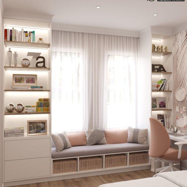 """Дизайн-проект двухэтажной квартиры ЖК """"Клеменова Дача"""", спальня №2 вид слева"""
