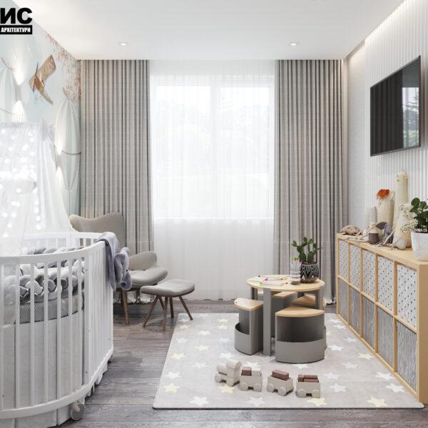 Дизайн интерьера двухкомнатной квартиры в ЖК «Архитекторов», фото детская с видом на игровую зону